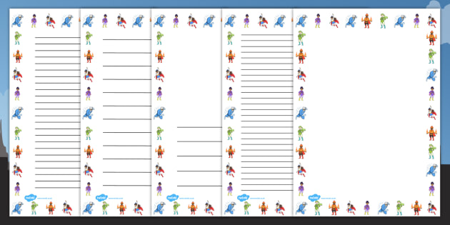 Superheroes Page Borders - page border, border, frame, writing frame, writing template, writing aid, writing, A4 page, page edge, writing activities, lined page, lined pages