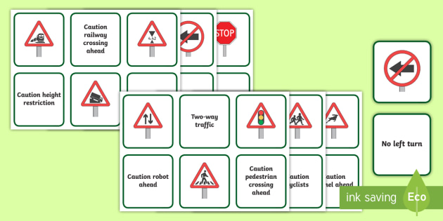 South African Road Signs Matching Cards K53 Road Signs Road