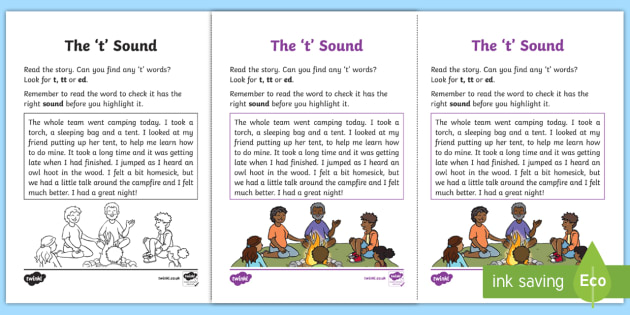 Northern Ireland Linguistic Phonics Stage 5 and 6 Phase 3a, 't' Sound Activity Sheet  - Linguistic Phonics, Phase 3a, Northern Ireland, 't' sound, sound search, text, worksheet