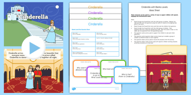 Cinderella with Blanks Levels Questions - receptive language, expressive language, verbal reasoning, language delay, language disorder, comprehension, autism, Language for Thinking
