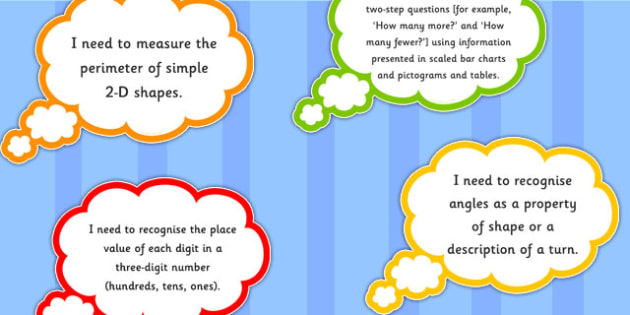 2014 Curriculum Year 3 Maths Assessment I Need To Thought Bubbles