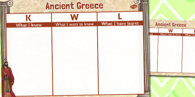 Ancient Greece Topic KWL Grid - ancient greece, topic, kwl, grid