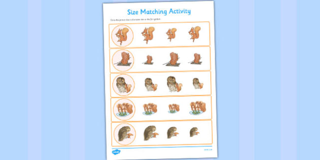 The Tale of Squirrel Nutkin Size Matching Worksheets - squirrel nutkin