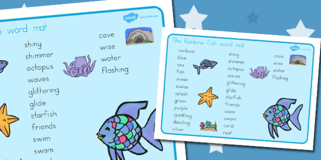 Word Mat Text to Support Teaching on The Rainbow Fish - australia, rainbow fish, word mat
