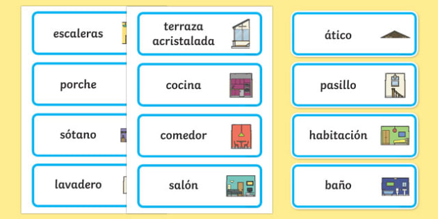 Parts of a House Word Cards Spanish - spanish, parts, house, parts of a house, word cards, word, cards