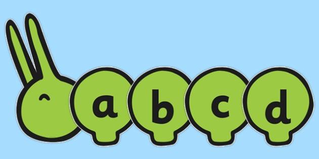 A-Z Alphabet on Large Caterpillar - Caterpillar, A-Z, minibeasts, Alphabet frieze, Display letters, Letter posters, A-Z letters, Alphabet flashcards