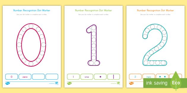 Number Recognition 0 20 Dot Marker Worksheet Worksheets