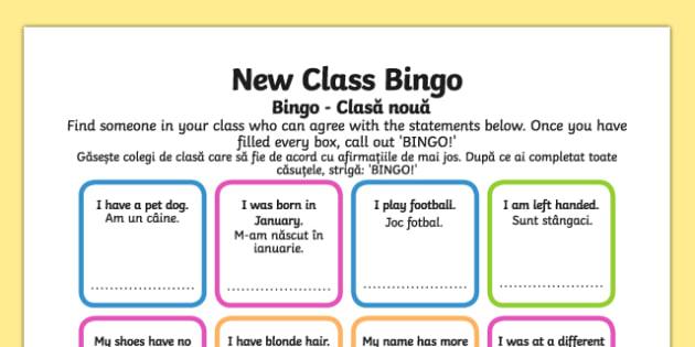 New Class Bingo Romanian Translation - romanian, transition, games, classroom games, preparation