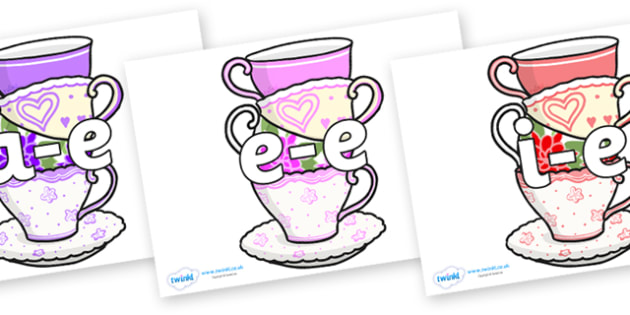 Split Digraphs on Teacups - Modifying E, letters, modify, Phase 5, Phase five, alternative spellings for phonemes, DfES letters and Sounds