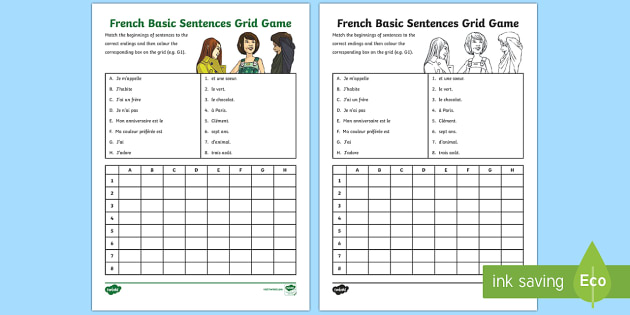 french basic sentences grid game ks2 french resources basic sentences. Black Bedroom Furniture Sets. Home Design Ideas