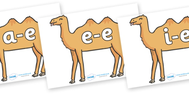 Modifying E Letters on Camels - Modifying E, letters, modify, Phase 5, Phase five, alternative spellings for phonemes, DfES letters and Sounds