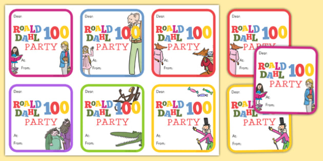 Roald Dahl 100 Party Invitations - roald dahl, 100, roald dahl 100, party invitations, party, invitations