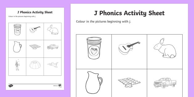 j Phonics Colouring Worksheet / Activity Sheet - Republic of Ireland, Phonics Resources, sounding out, initial sounds, phonics assessment, colouring,