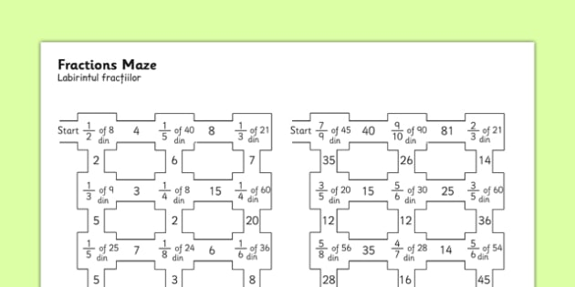 Fractions Maze Romanian Translation - romanian, fractions, fractions maze, fractions worksheet, fractions activity, fractions puzzle, numeracy maze, ks2 numeracy worksheet, ks2 numeracy