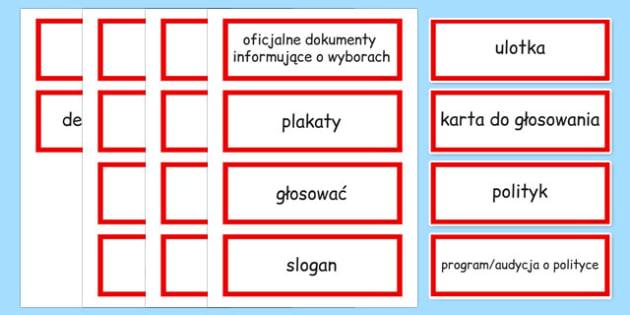 Karty ze słownictwem Wybory po polsku - polityka