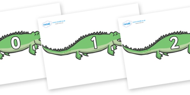 Numbers 0-31 on Crocodiles - 0-31, foundation stage numeracy, Number recognition, Number flashcards, counting, number frieze, Display numbers, number posters