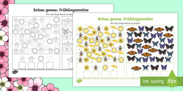 Schau genau: Frühlingsmotive Arbeitsblatt: Erstes Zählen