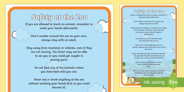 Safety at the Zoo Poster - safety, zoo, poster, display poster, display