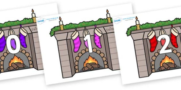 Numbers 0-31 on Fireplaces - 0-31, foundation stage numeracy, Number recognition, Number flashcards, counting, number frieze, Display numbers, number posters