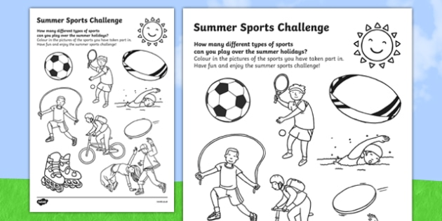 summer sports challenge worksheet worksheet worksheet. Black Bedroom Furniture Sets. Home Design Ideas