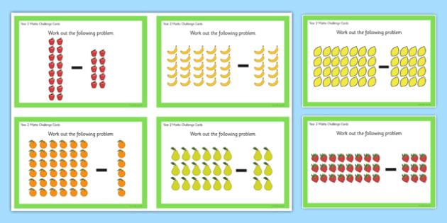 Year 2 Array Subtraction Challenge Cards - year 2, array, subtraction, challenge cards, challenge, cards