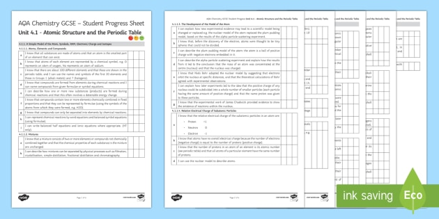 aqa chemistry unit 41 atomic structure and the periodic table student progress sheet student progress - Periodic Table Aqa Gcse