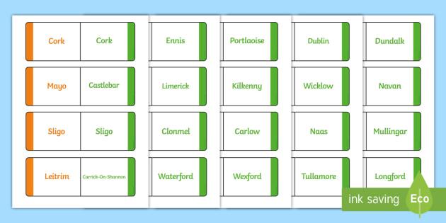 Towns and Cities of Ireland Matching Game and Teacher Instructions - roi, irish, republic of ireland