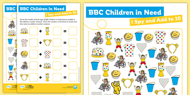 EYFS BBC Children in Need I Spy and Add to 10
