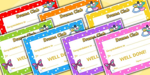 Drama Club Certificates - drama club, certificates, reward, award, reward certificates, certificate template, behaviour management, class management