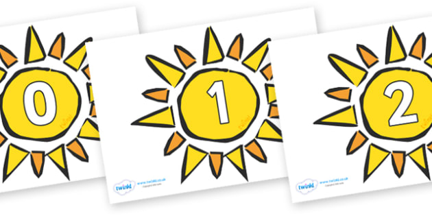 Numbers 0-31 on The Sun - 0-31, foundation stage numeracy, Number recognition, Number flashcards, counting, number frieze, Display numbers, number posters