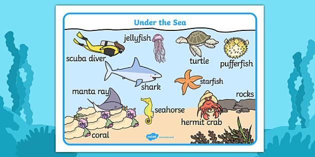 Under the Sea Scene Word Mat - word mat, keyword mat, keywords