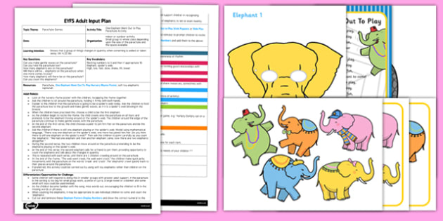 One Elephant Went Out to Play Parachute Activity EYFS Adult Input Plan and Resource Pack - EYFS planning, early years activities, number, counting, changes in quantity, adult led