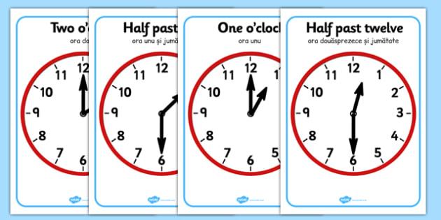 O'clock and Half Past on Clocks Romanian Translation - romanian, o clock, half past, clock, time