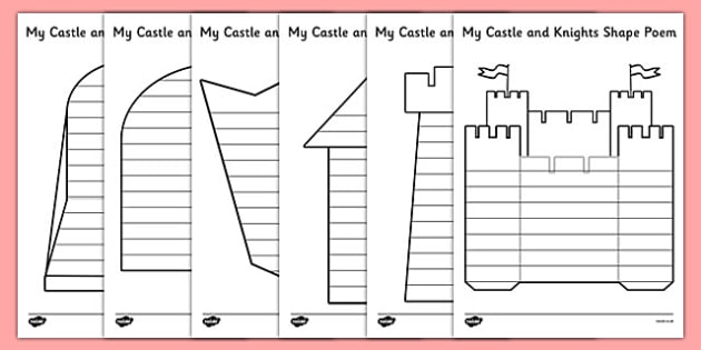 Castles and Knights Shape Poetry - castle, knight, poem, poetry