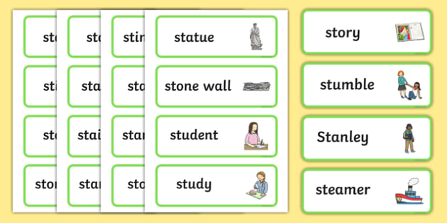 Premise Indicator Words: Two Syllable 'st' Blend Word Cards
