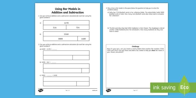 4-Digit Bar Modeling Addition and Subtraction Worksheet ...
