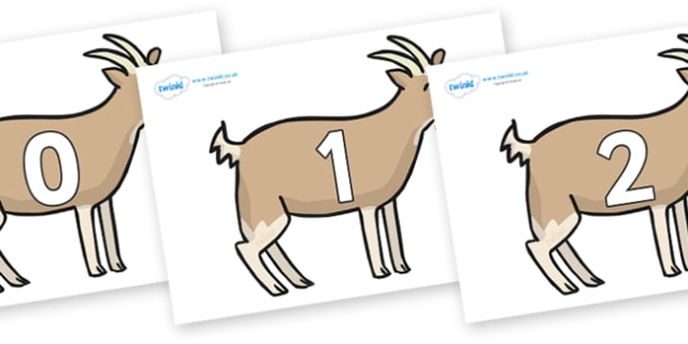 Numbers 0-100 on Goats - 0-100, foundation stage numeracy, Number recognition, Number flashcards, counting, number frieze, Display numbers, number posters