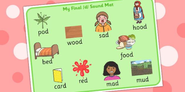 Final D Sound Word Mat - final, d, sound, word cards, cards
