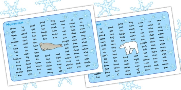 Polar Regions Themed KS1 Word Mat - polar, ks1, word mat, mat