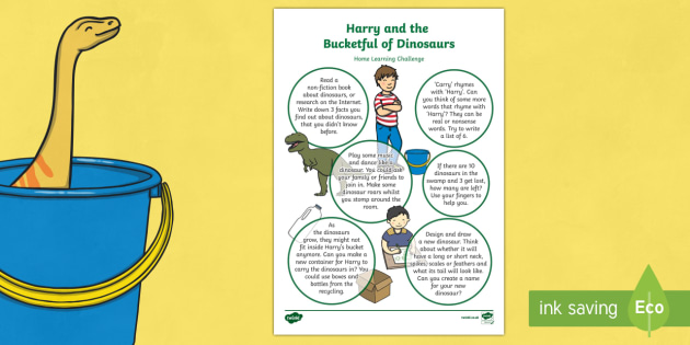 Home Learning Challenge Sheet Reception FS2 to Support Teaching on Harry and the Bucketful of Dinosaurs