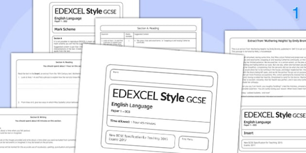 GCSE English Language Exam Paper 1 EDEXCEL 003 - gcse, english, exam, paper, 1