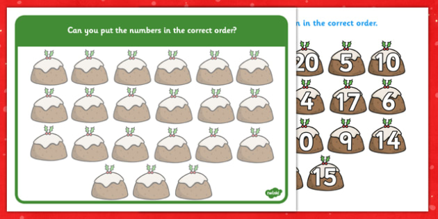 1-20 Christmas Number Ordering Christmas Puddings - christmas, number, ordering, christmas pudding