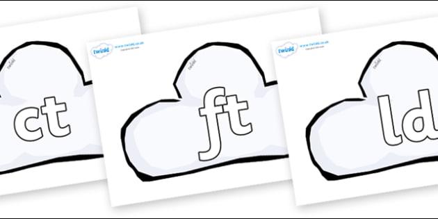 Final Letter Blends on Weather Symbols (Cloud) - Final Letters, final letter, letter blend, letter blends, consonant, consonants, digraph, trigraph, literacy, alphabet, letters, foundation stage literacy