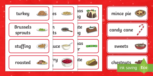Christmas Dinner Word Cards - Christmas, xmas, word card, flashcards, cards, Santa, Father Christmas, tree, advent, nativity, santa, father christmas, Jesus, tree, stocking, present, activity, cracker, angel, snowman, advent , bauble