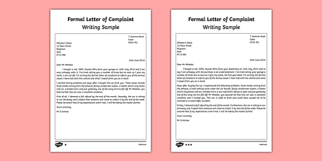 Letter of Complaint Writing Sample