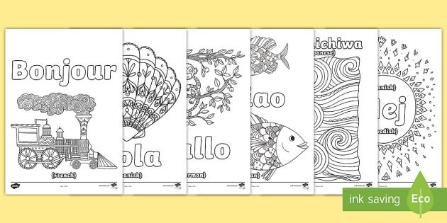Hello In Different Languages Mindfulness Colouring Pages Mindful