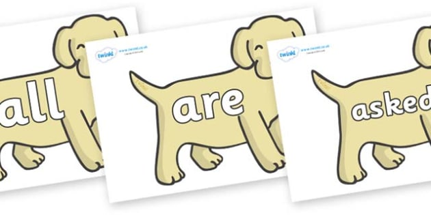Tricky Words on Puppies - Tricky words, DfES Letters and Sounds, Letters and sounds, display, words