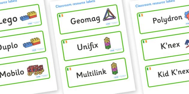Ireland Themed Editable Construction Area Resource Labels - Themed Construction resource labels, Label template, Resource Label, Name Labels, Editable Labels, Drawer Labels, KS1 Labels, Foundation Labels, Foundation Stage Labels