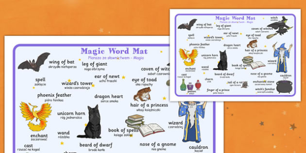 Magic Word Mat Polish Translation - polish, halloween, hallowe'en, word mat, word, mat