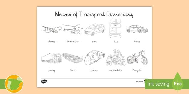 NEW * A1 Diccionario para colorear: Medios de transporte en